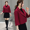 New Women Autumn Winter Style Casual Basic Blazer Coat Single button Top Suit Work Wear OL Solid Woolen Plus Size
