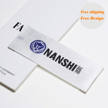Separate cut folded clothing labels custom private brand washable cloth woven labels costume label Wooden shuttles 500pcs/lot