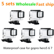5sets wholesale Universal Waterproof case for Gopro hero7 Black 6 5 camera High transparency acrylic body tempered glass lens