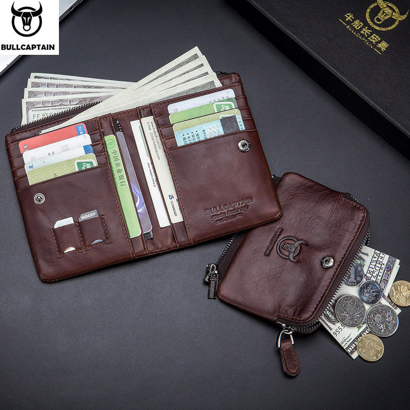 Bullcaptain Coin Purse Handbag Buckle Small Wallet RFID Vintage Men's Cartera Hombre