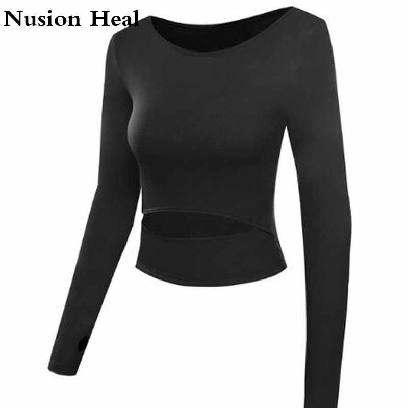 Drop Women Yoga Crop Tops Fitness Yoga Shirts Long Sleeve Workout Tops Fitness Running Sport T-Shirts Training Yoga Sportswear