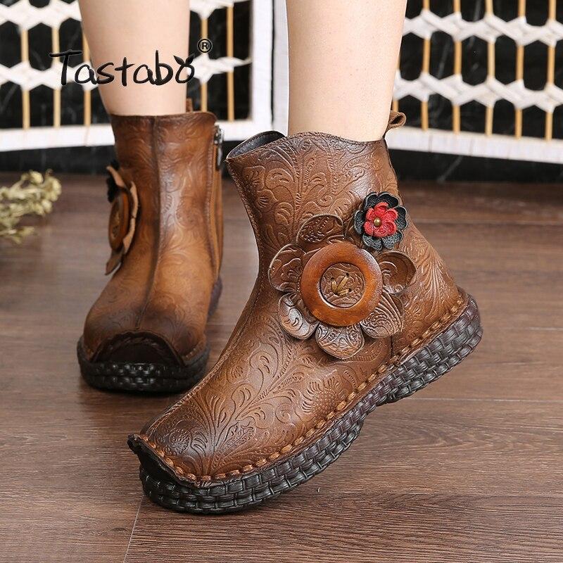 Botas de invierno de Tastabo botas de tobillo de cuero genuino 2018 nuevo diseño punta redonda suave cómodo marrón negro botas de mujer-in Botas hasta el tobillo from zapatos    1