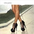 CDTS Plus Size: 35-45 46 2016 senhoras primavera/outono Dedo Do Pé Redondo sapatos de casamento plataformas 15 cm fina alta saltos Tira No Tornozelo sapatos mulheres bombas