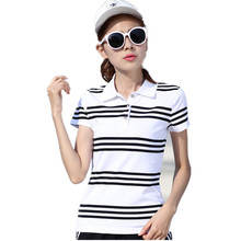 M-XXL Brand Clothing 2017 Summer Women Polo Shirt Female Short Sleeve Lapel Striped Casual White Red Shirts Lady Polo YY672
