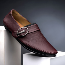 Real Cow Leather-based Mens Loafers 2017 Trend Handmade Moccasins Leather-based Males Flats Brown Slip on Males's Boat Shoe PLUS SIZE 39~44