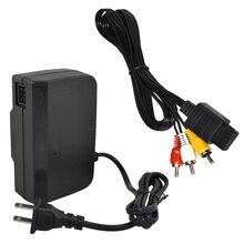 "Xunbeifang AC מתאם אספקת חשמל עבור Nintendo עבור N64 כבל חשמל כבל ארה""ב תקע עם כבל AV"