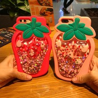 Newest 3D Strawberry Dynamic Liquid Quicksand Silicone Case For IPhone 7 7 Plus 6 6S Plus