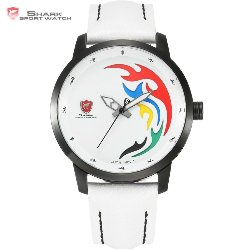Top márka luxus SHARK Sport Watch Férfi Limited Fehér Fekete Láng - Férfi órák