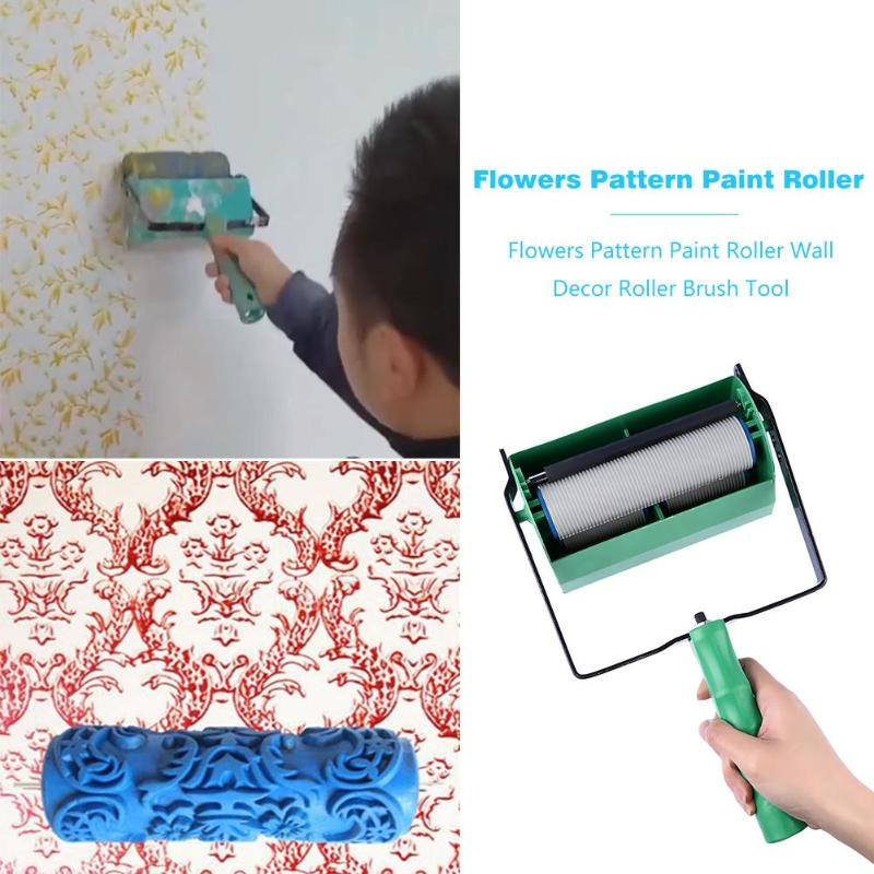 5 Inch Flowers Pattern Paint Roller Wall Decoration Roller Art Brush Tool For Home Wall Printed Brush Single/Double Colors Type
