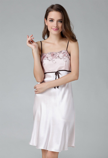 517ae2ade51 Free shipping girl s sleep dress Chinese Silk sleepwear nightgown female 100  mulberry silk spaghetti strap lace nightgown women