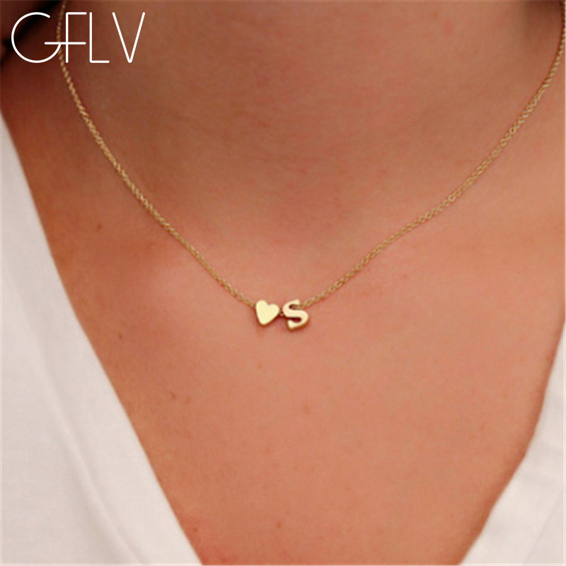 GFLV Trendy Lovely Girl Letter Necklace Golden Hart Elegant Name Pendant Jewelry Women Necklace Wedding&Party Accessories N026(China)