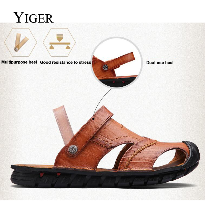 YIGER NEW Men's Genuine Leather sandale Casual Outdoor Beach Plišani - Muške cipele - Foto 4
