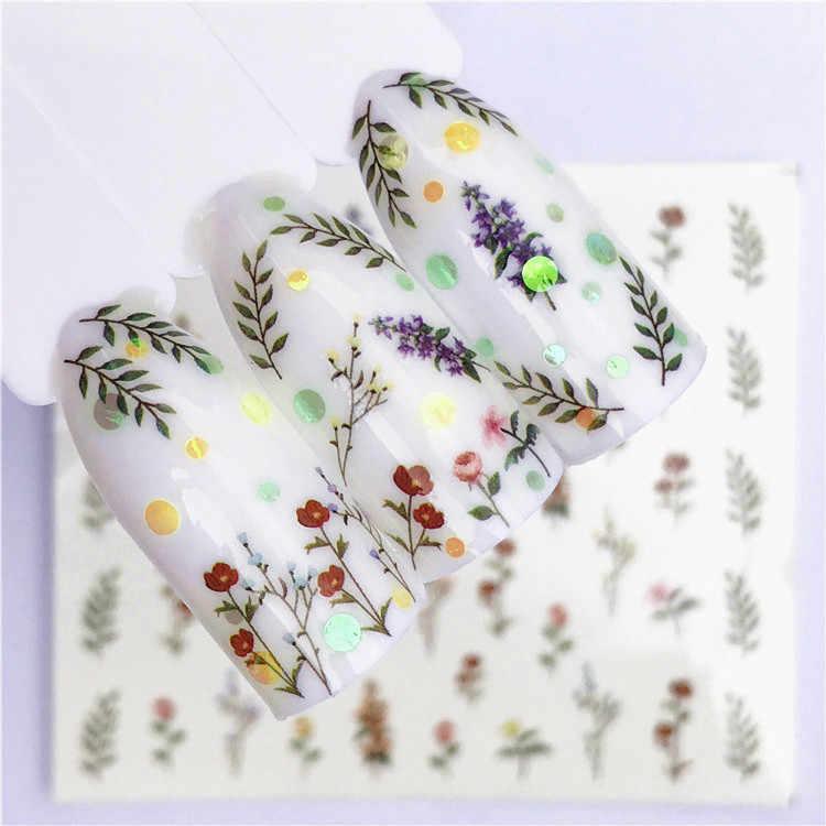 1 Pcs Fruit fashion Nail Art Sticker Women White Flower Cat Butterfly Transfer Flower Plants Water Decal Slider Wraps Decor Man