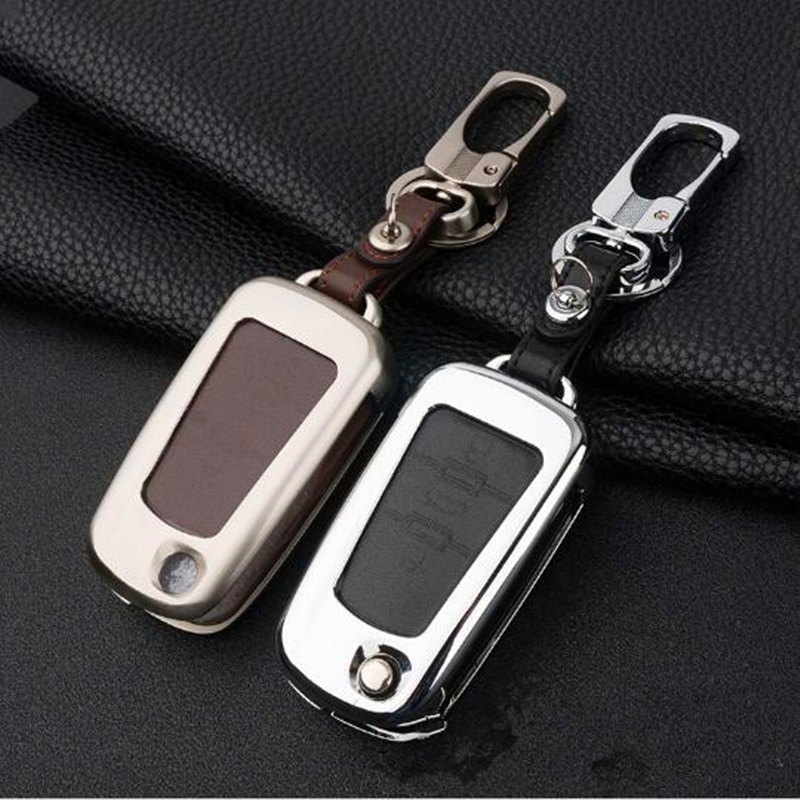 SeiYio Mental & Leather Car key ring Shell Simple style Auto key cover for MG5 MG7 MG GT GS Roewe 350 360 750 W5 Key