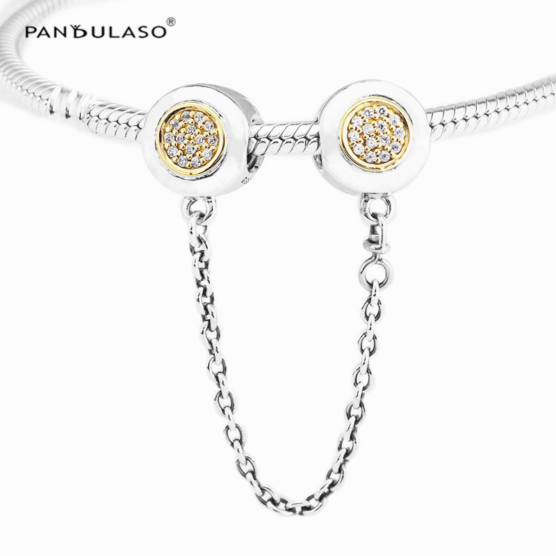 Pandulaso Two-Tone Signature Safety Chain Pendant 925 sterling silver jewelry Fit bracelet & Necklace DIY woman Jewelry Making two tone loose fit jumper
