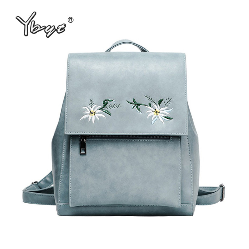 YBYT brand 2018 new casual embroidery flowers women cute backpack girl schoolbag ladies  ...