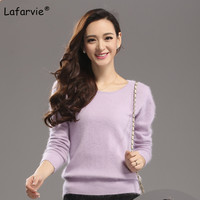 Lafarvie Quality O Neck Mink Cashmere Sweater Autumn Winter Female Pullover Solid Soft Thick Warm Slim