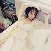 RenYvtil Long Robe Grace Ivory Air Conditioner House Soft Loose Coat Autumn Princess Velvet Thicken Warm