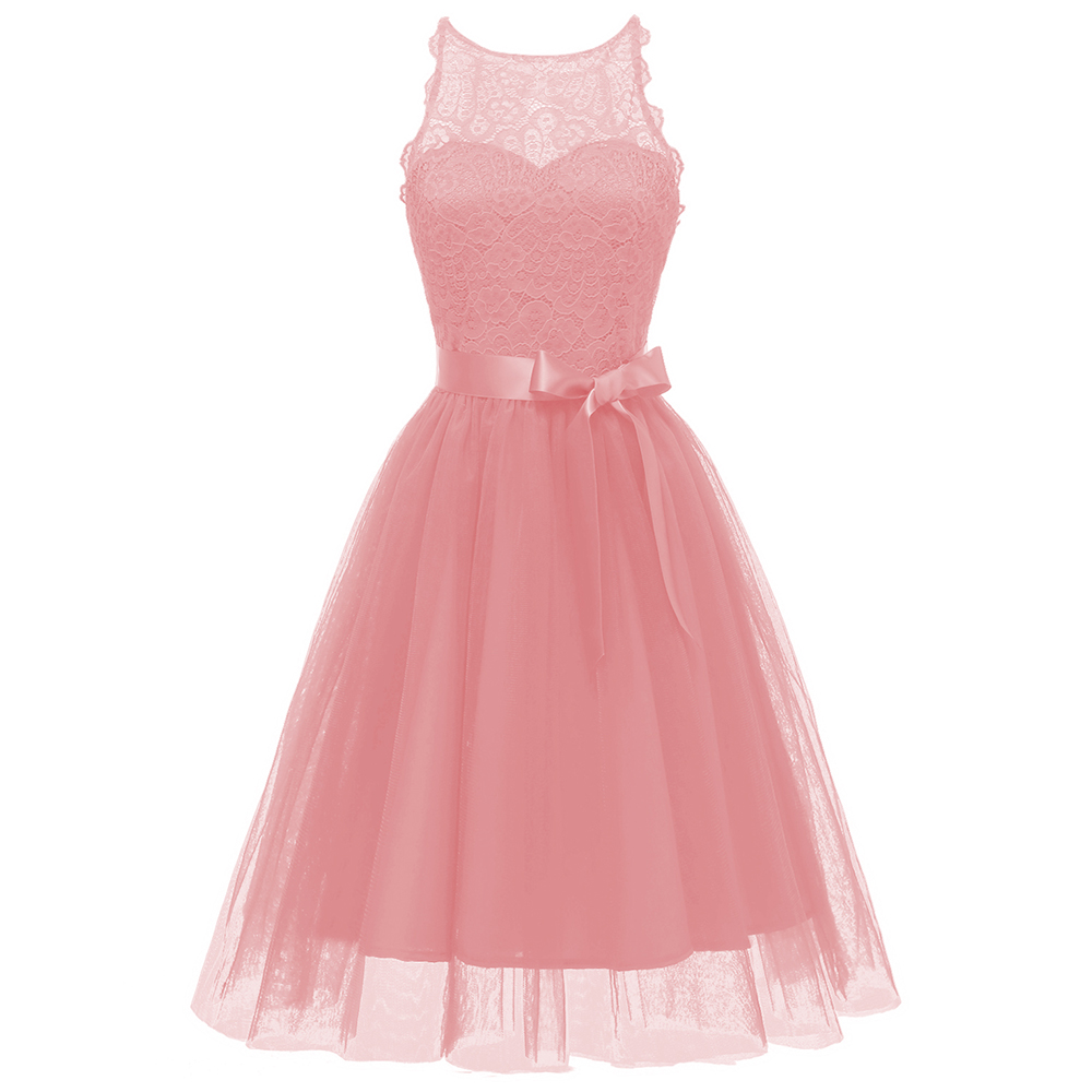 Dressv pink   cocktail     dress   cheap scoop neck sleeveless lace graduation party   dress   sashes fashion   cocktail     dresses