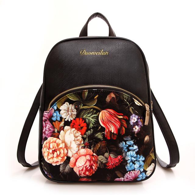 Impressão mochila bolsas de couro mulheres Floral Bag mochilas viagem mulher moda preto sólido branco saco mochilas para meninas adolescentes