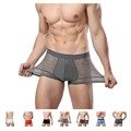 Men Underwear Sexy Bamboo Fiber Solid Color Transparent Boxers Modal Sexy Underpant 7 Colors L-XXXL Calzoncillos Hombre Slips