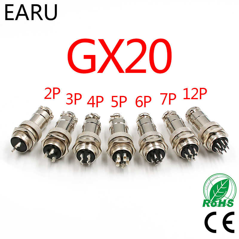 1Set GX20 Aviation Connector Plug Socket Circular Connector 2 3 4 5 6 7 8 9 10 12 13 14 15 Pin M19 19mm Cable Wire Male Female