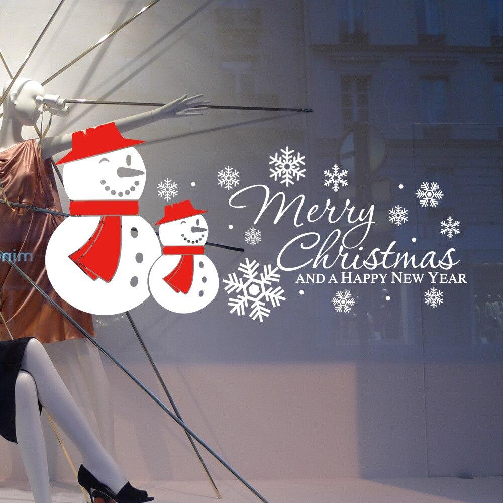2019New Year Merry Christmas Glass Window Stickers ...