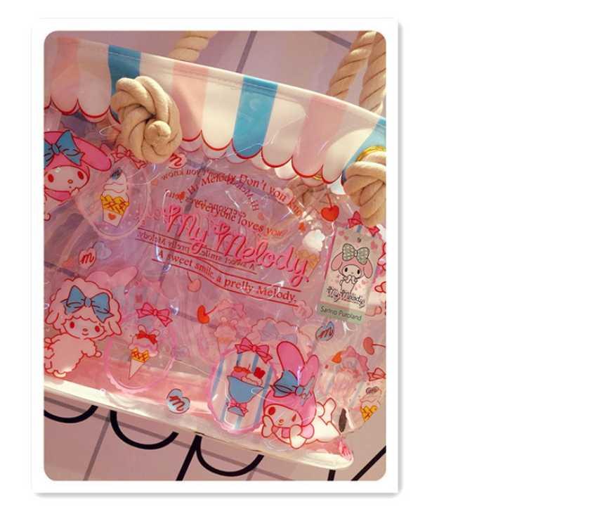 2018 dos desenhos animados Olá Kitty transparente PVC pacote do saco das mulheres Pode ser usado como óculos de natação à prova d' água saco bagbeach