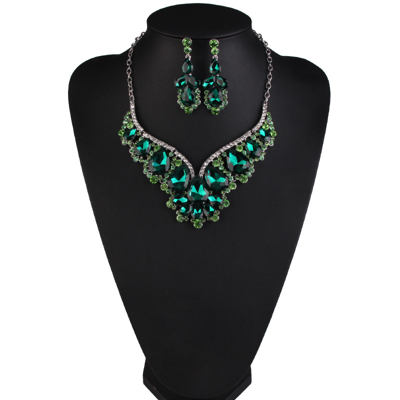 Geometric Water-Drop Stone Flower Pendant Statement Necklace Earring Jewelry Sets For Women Fashion Party Jewelly Sets Gifts