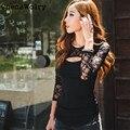 ChenaWolry 1 PC Vendas Quentes Atraente Luxo Novas Mulheres Sexy de Moda Rendas O-pescoço de Manga Comprida T-Shirt Senhora Casual Tops De Outubro 31