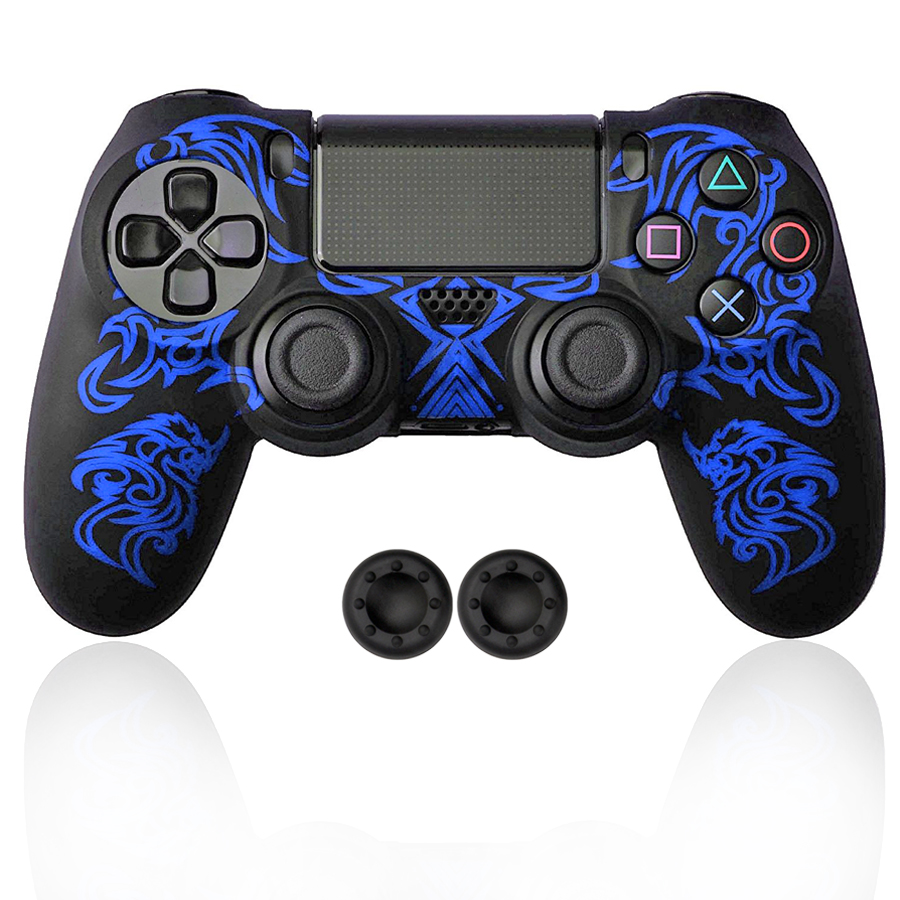For Sony Playstation4 <font><b>PS4</b></font> Silicone <font><b>Case</b></font> Skin Protective Cover with 2 Analog Caps for <font><b>PS4</b></font>/Slim/Pro Controller Gamepad image