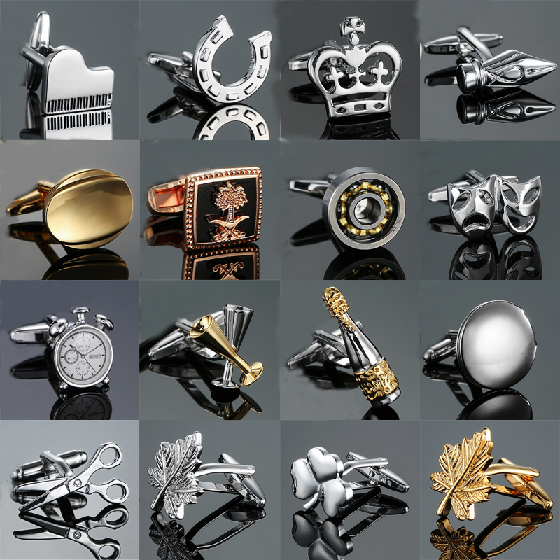 High-quality 18 Style Cufflinks Life Design Cup Scissors Lock Cuff Links Piano Bass Cuffs Novelty Cuff Links Wholesale&retail