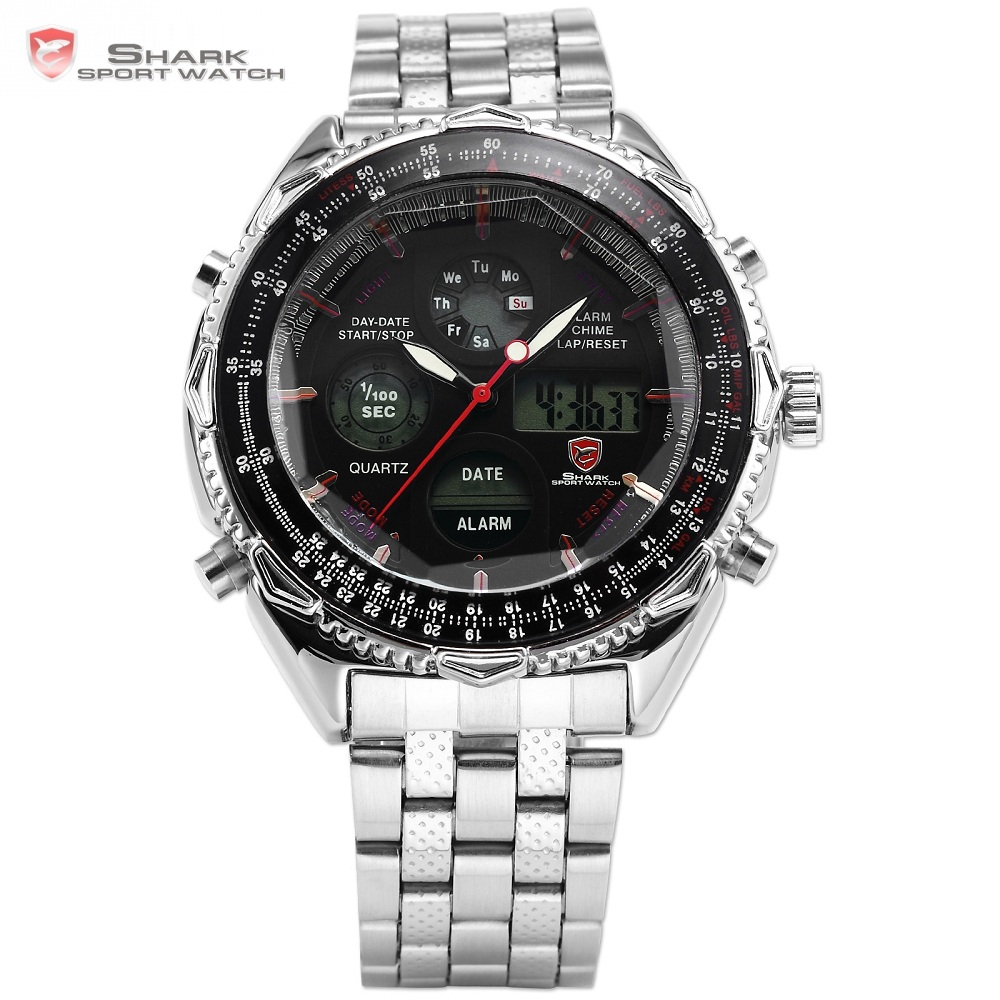 Eightgill Shark Sport Watch Dual Time Digital Analog Stainless Steel Stopwatch Mens Quartz Militray Wrist Watches