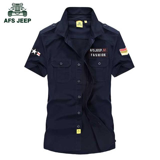 Afs jeep homens da marca 100% algodão camisa plus size m-5xl solto de manga curta camisas dos homens 2016 Estilo dos homens camisa do Verão militar