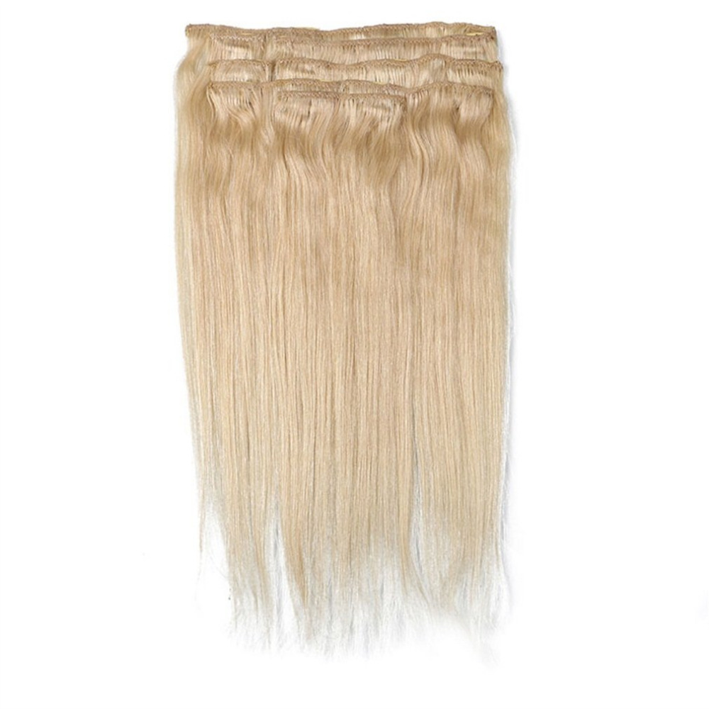 8PCS 1518202224Clip In Full Head 100% Real Remy Human Hair Extensions new arrival clip in hair extension 4t 613 dark brown hair with blonde highlight peruvian virgin human hair extensions free ship