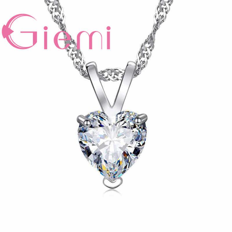 100% echt 925 Sterling Silber Anhänger Halskette Glänzende Prinzessin Cut Klar Herz Cubic Zirkon Schmuck Nizza Valentines Geschenke