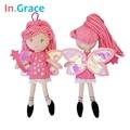 Ingrace feericamente bonito magia mini dolls com varinha estrela brilhando asas vermelho princesa boneca para as meninas handmade barato brinquedinhos 23 cm