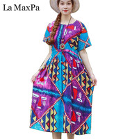 La MaxPa 2019 New Summer Dress Women Vintage Print Cotton Linen Dress Lady Vestidos casual O Neck Loose Sundress midi dress