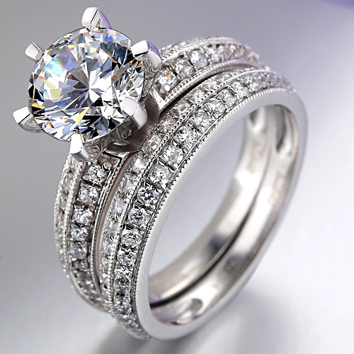 aliexpresscom buy luxury simulated diamond 2 ct engagement rings wedding bridal jewelry engagement ring sets fine pure silver ring set jewellery from - Luxury Wedding Rings