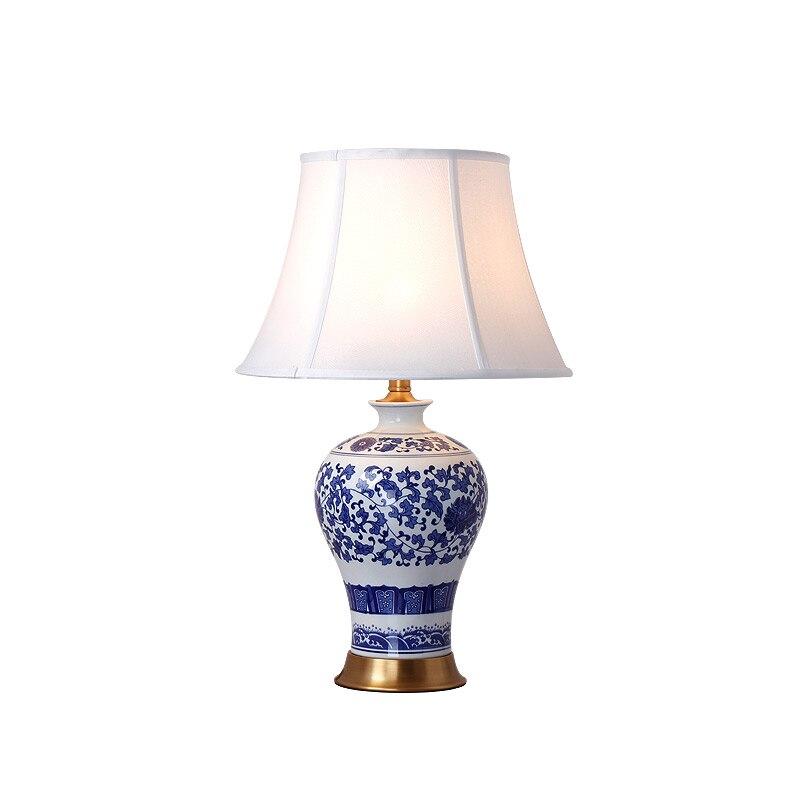 Lampe de Table bleu et blanc porcelaine vase bureau déco lampe pour chambre porcelaine de table lumière déco maison maison luminaria YX6068