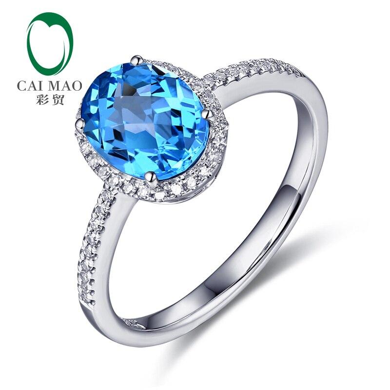 Caimao Bijoux 14 k Blanc Bague En Or 2.57ct Bleu Topza et Diamant Bague de Fiançailles