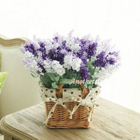 Artificial Flower + willow basket Home decoration desktop fake lavender flowers wedding decor gifts tabletop touching flower