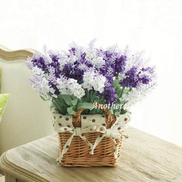 Artificial flower willow basket home decoration desktop fake artificial flower willow basket home decoration desktop fake lavender flowers wedding decor gifts tabletop touching mightylinksfo