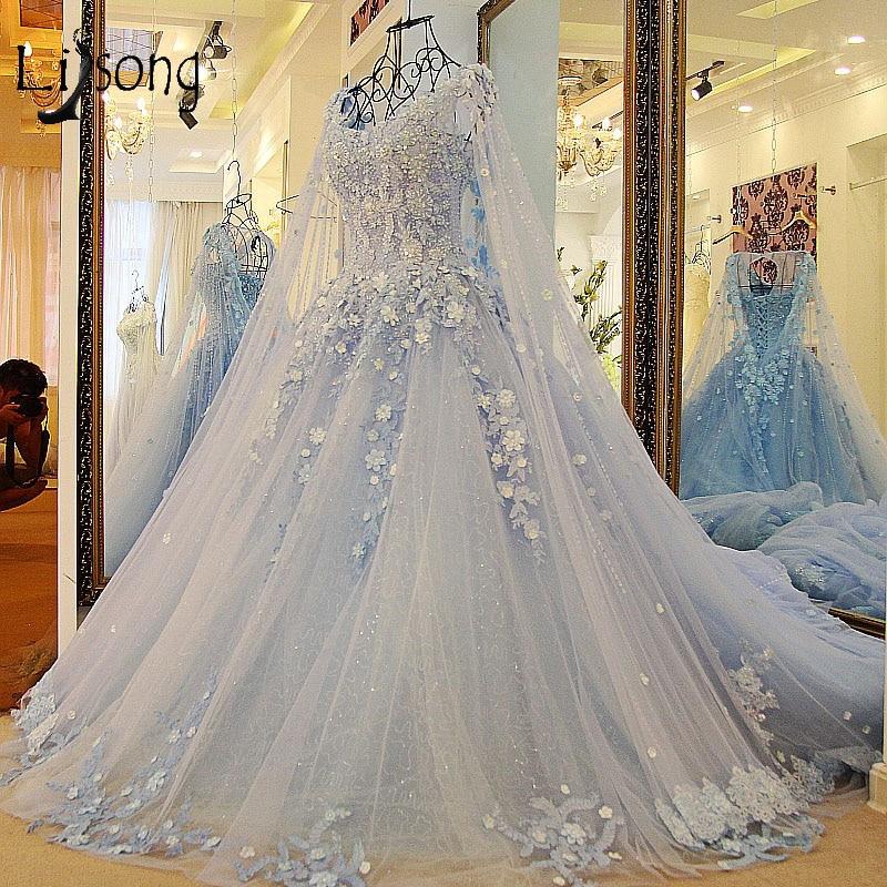 Dubai Sky Blue Wedding Dresses With Long Cloak Crystal Pearls Puffy Bridal Ball Gowns Robe De Mariee 2018 Appliques Casamento