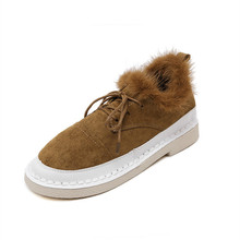 Fashion Casual Fur Winter Shoes 2016 Warm Flat Shoes Women Nubuck Leather Lace Up Snow Shoes Black and Brown