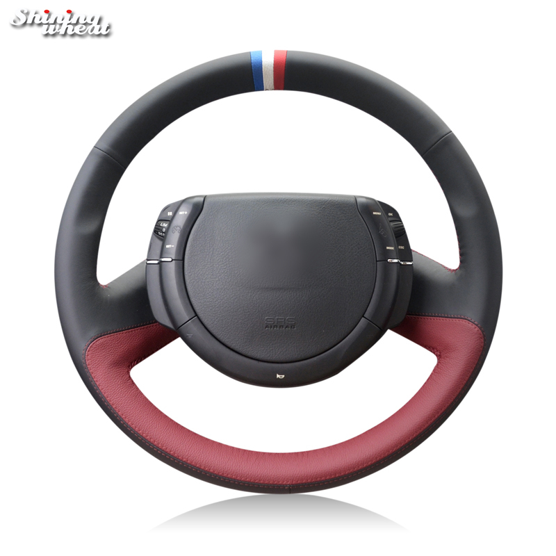 Shining wheat Black Genuine Leather Hand-stitched Steering Wheel Cover for Citroen Triumph Old C4 C-quatre shining wheat hand stitched black leather steering wheel cover for peugeot 206 2007 2009 207 citroen c2