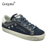 CANGMA British Style Top Quality Women Footwear Navy Blue Genuine Leather Suede Shoes Female Casual Vintage