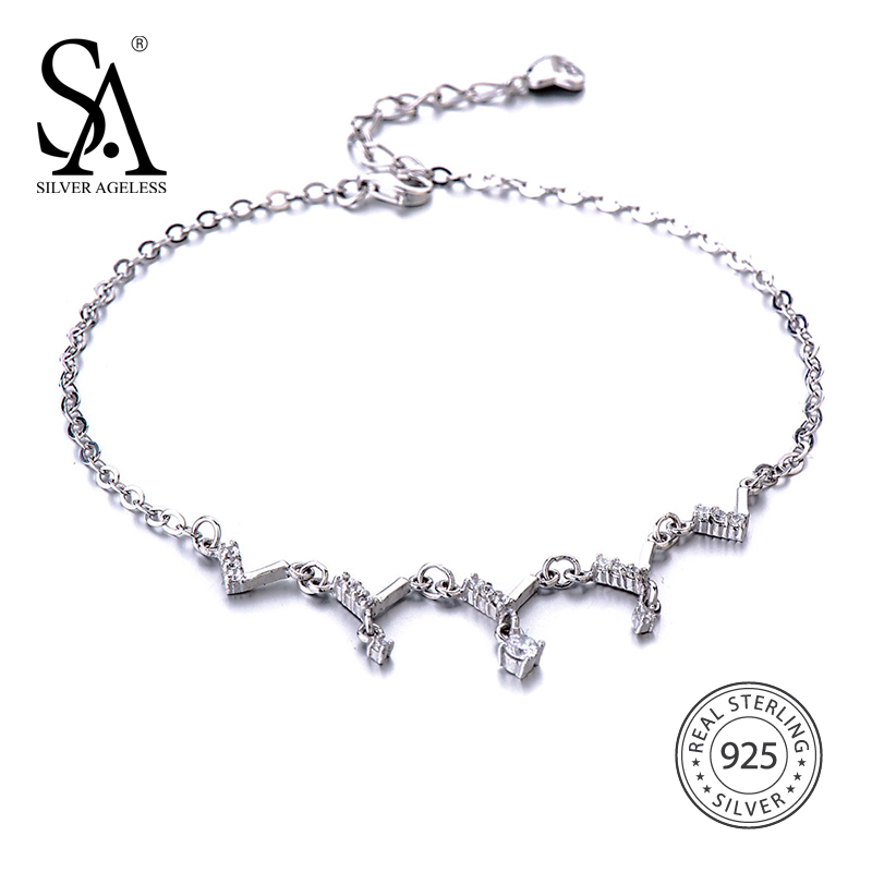 SILVER AGELESS Fine Jewelry 925 Sterling Silver V shaped Wave Anklets for Women Foot Chain Anklet Bracelet Charms Adjustable