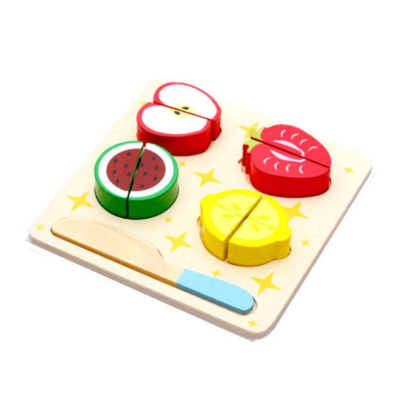 House Kitchen Pretend Play Toys Wooden Jigsaw Puzzle Cut Fruit Pieces Wood Montessori Educational Toys