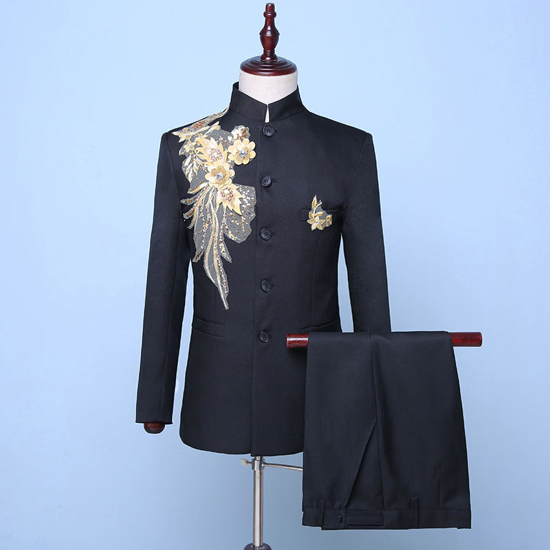 2018 Autumn Winter Black Stand Collar Sequin Embroidery Flowers Suits Chinese Style 2 Piece Singer Stage Blazer Masculino